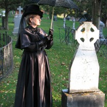 6 - Her Amb Vic mourning, no veil, parasol by Celtic cross, oct 2010