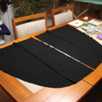 Costume Club suit to tailcoat, flaps laid out ready to sew